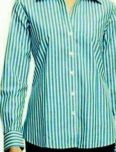 Foxcroft Wrinkle Free Teal Striped Shirt